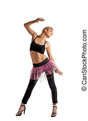 frau, athletische, junger, tanz, posierend, kostüm, sport
