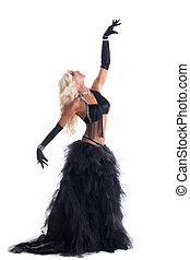 frau, athletische, tanz, schwarz, kostüm, blond, posierend