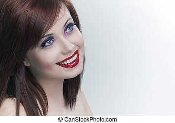 frau, attraktive, hintergrund, porträt, lächeln, weißes