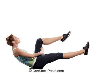frau, auf, abdominals, workout, haltung, weiß, backgroun
