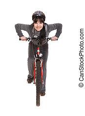 frau, auf, fahrrad