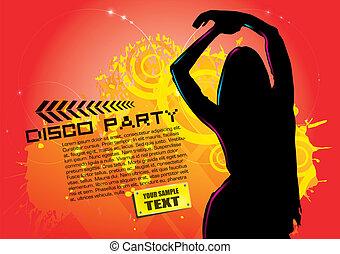frau, auf, party, hintergrund