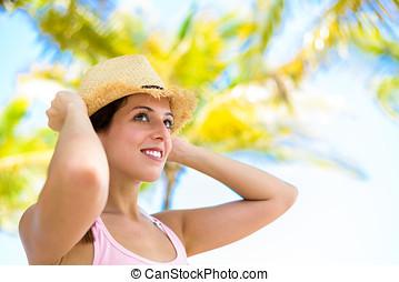 frau, auf, sommer, tropischer urlaub