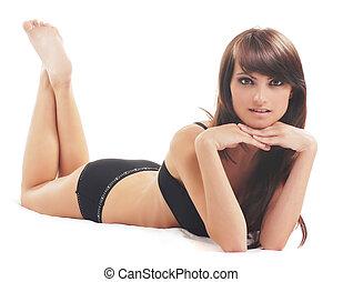 frau, aus, junger, damenunterwäsche, schwarzer hintergrund, sexy, weißes