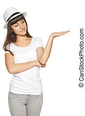 frau, ausstellung, offene hand, handfläche