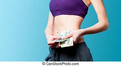 frau, ausstellung, sie, waschbrettbauch, mit, dollar, nach, gewichtsverlust