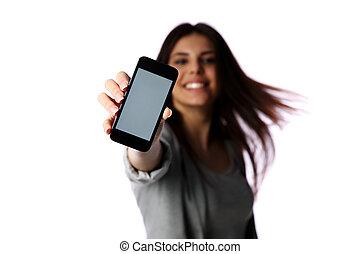 frau, ausstellung, smartphone, schirm, freigestellt, weiß,...