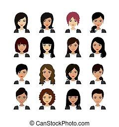 frau, avatar, asiatisch