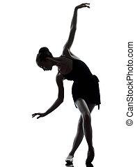 frau, ballett, dehnen, auf, junger, ballerina, tänzer, wärmen