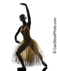 frau, ballett tanzen, ballerina, tänzer, silhouette