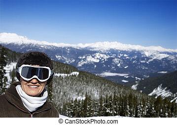 frau, berge., skier