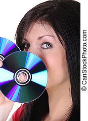 frau besitz, auf, cds