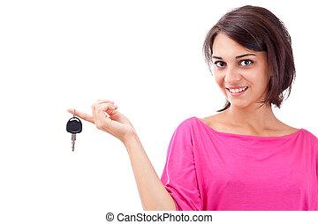 frau besitz, autoschlüssel