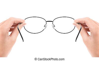 frau besitz, brille, in, hände