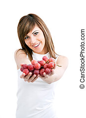 frau besitz, grapes., junger, gesunde