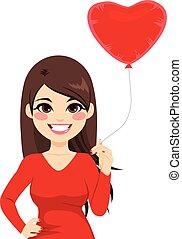 frau besitz, herz, balloon