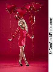frau besitz, luftballone, in, beide, hände