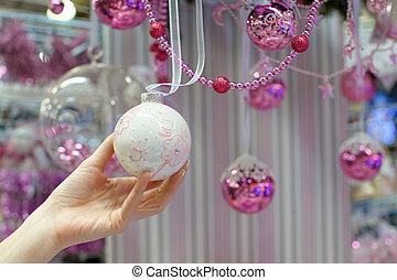 frau besitz, weißes weihnachten, flitter, an, kaufmannsladen