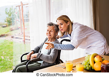 frau, besucher, visit., gesundheit, daheim, während, älter