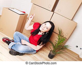 frau, bewegen, zu, neues haus, und, zeigen, karton