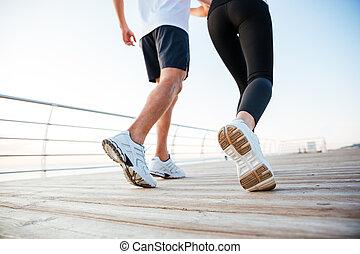 frau, bild, kupiert, jogging, draußen, mann