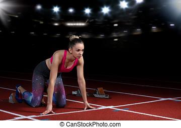 frau, blöcke, athletische, sprinter, abgang, start, explodieren, stadion, track., beginnen, reflektoren