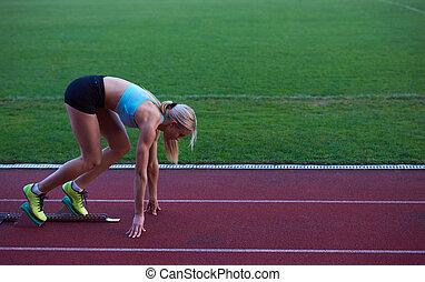 frau, blöcke, sprinter, abgang, design, pixelated, beginnen
