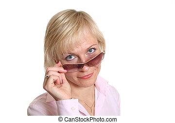 frau, blond, brille