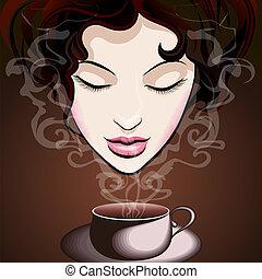 frau, bohnenkaffee, genießen