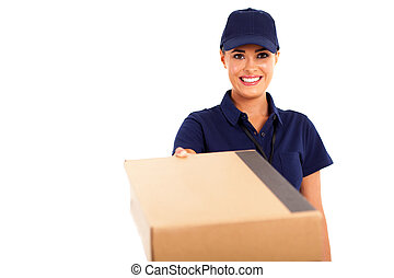 frau, botenservice, postpaket,  service, liefern