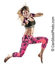 frau, boxen, freigestellt, excercises, pilates, fitness