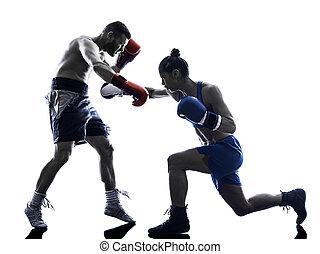 frau, boxer, boxen, mann, kickboxing, silhouette, freigestellt