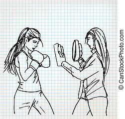 frau, boxer, skizze, abbildung