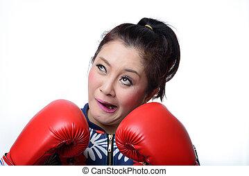 frau, boxhandschuhe, äugig, schielen, verrückt