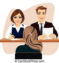 frau, buero, kandidat, sitzen, buero, verstärkung, bewerbungsgespräch, geschaeftswelt, personal