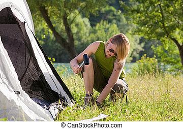 frau, camping