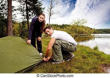 frau, camping, mann
