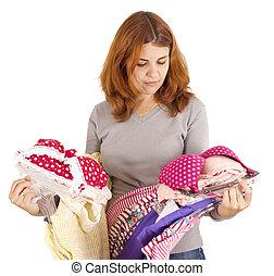 frau, clothes., wählen, junger, freigestellt, schöne , ...