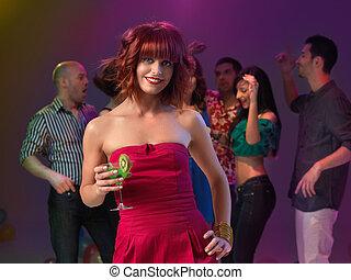 frau, cocktail, klub, nacht, sexy, trinken