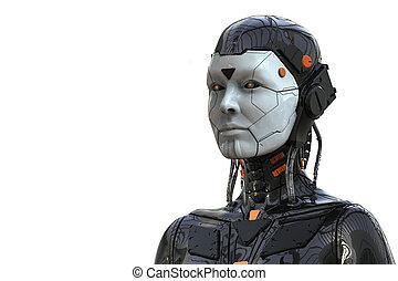 frau, cyborg, -realistic, hintergrund, -, weibliche , übertragung, android, 3d, roboter, humanoid, technologie