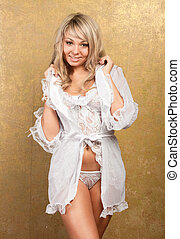 frau, damenunterwäsche, sexy, hintergrund, weißes, goldenes, blond