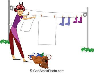 frau, draußen, hängende kleider