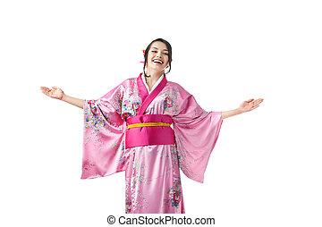 frau, dress., raum, junger, kimono, werbung, feundliches
