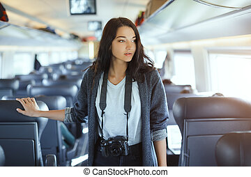 frau, dslr, concept., tourist, fotoapperat, reise, train.