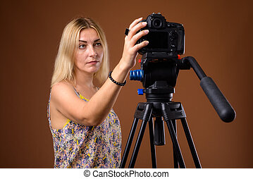 frau, dslr, fotograf, stativ, fotoapperat, studio