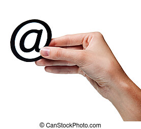 frau, e-mail., freigestellt, hand holding, zeichen
