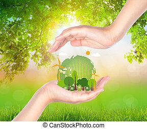 frau, eco, hand, erde, halten, feundliches