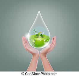 frau, eco, tropfen, wasser, hände, erde, halten, feundliches