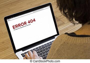 frau, edv, fehler, 404