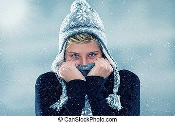 frau, einfrieren, junger, schneefall
